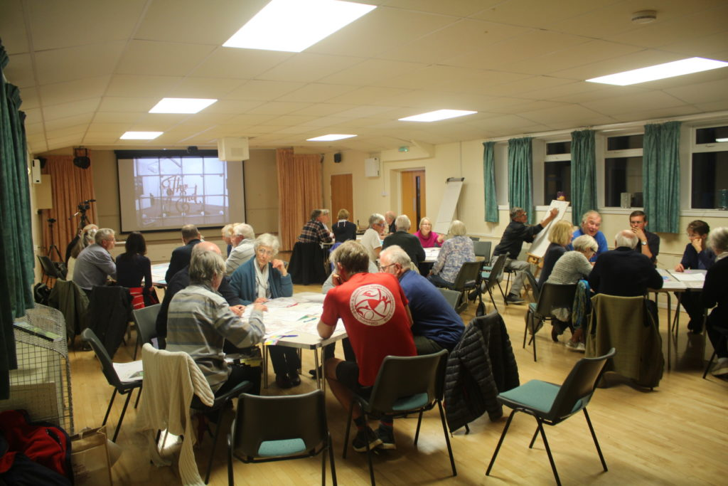 Discussion groups at Eastcombe public meeting, September 2019