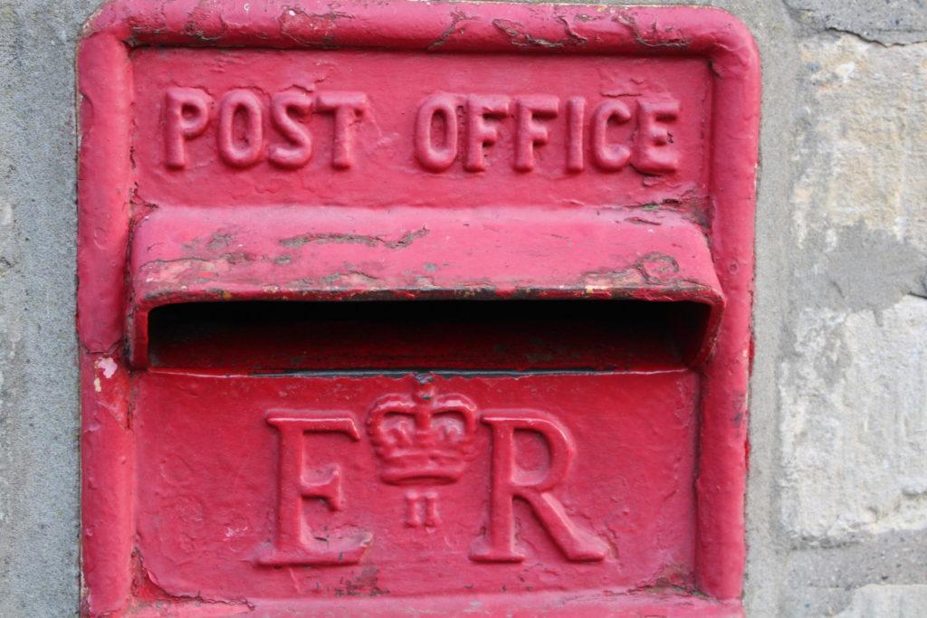 Post box at Bisley Post Office